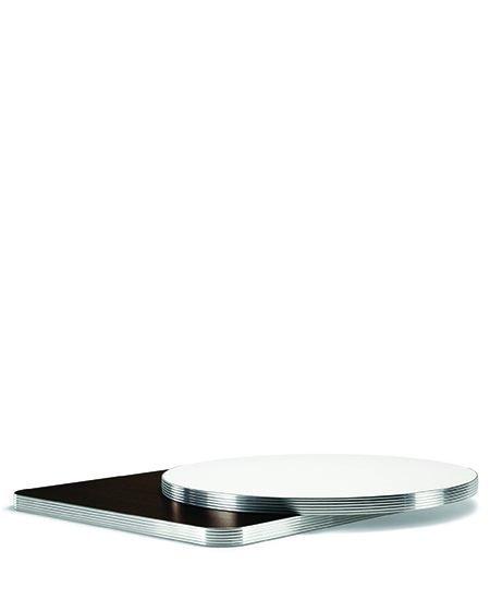 Laminate top, aluminium edge